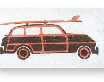 Woody Beach Car rustic wooden sign 12 x 18