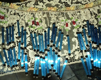 Antique Beaded Trim Lampshade Headpiece Tube Beads with Ombre Ruched Ribbon Trim 1 1/2 Yards Restoration Project 1920s
