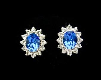 Vintage Rhinestone Earrings, Blue Clear Rhinestone Sterling Silver Earrings, Vintage Silver Earrings, Sterling Silver 925, Dainty Stud