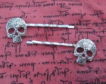 Bobby Pins, Skull Pins, Skull Hair Slides, Skull Hair Pins, Gothic Skull, Hair Clips, Pins, Hair Jewelry, Wedding, Candy Skull, Floral Pins