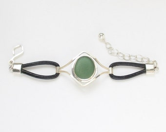 Sea Glass Jewelry - Sterling Green Sea Glass & Leather Bracelet