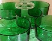 Vtg Luminarc Coupes Suede Vert Green Tall Dessert Sherbet Dish Set of 6 NEW NOS
