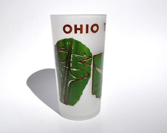 Vintage Ohio souvenir glass, 1950s Ohio Turnpike frosted glass tumbler, Hazel Atlas souvenir toll booth vintage cars