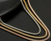 Plated Brass 1.3mm Curb Chain in Rose Gold, Yellow Gold or Rhodium - By the Foot or Finished