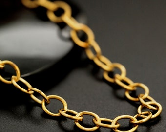Solid Brass 6.3mm Links - Oval Cable Chain - By the Foot or Finished with a Gold Plate Lobster Clasp - Made in the USA