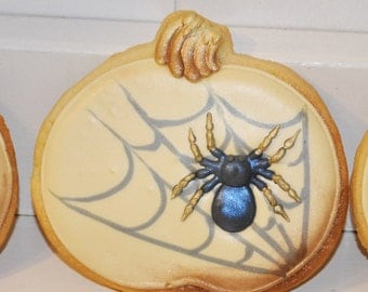 Halloween Spiderweb Pumpkin Sugar Cookies - 1 Dozen