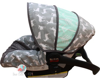 Infant Car Seat Cover Grey Deer Silhouette