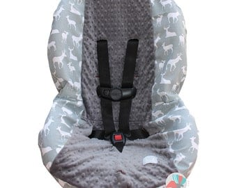 Toddler Car Seat Cover Grey Deer Silhouette