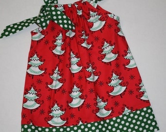 girls Christmas Pillowcase dress Christmas trees, red and green Christmas outfit 3, 6, 9, 12, 18 mo 2t, 3t, 4