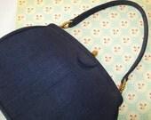 SALE - Morris Moskovitz Handbag, purse, MM, hand bag, navy blue