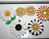 Lot of Vintage Flower Brooches and Earrings - Yellow and White tones - only pay POSTAGE on ONE listing