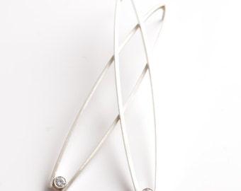 A Fine Balance Silver Mid Century Modern Earrings