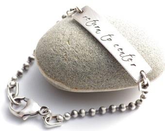 Return To Center Silver Meditation and Mantra Bracelet