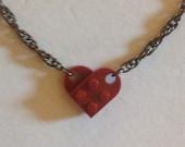 Dark Red Lego Necklace, Thick Gunmetal Chain