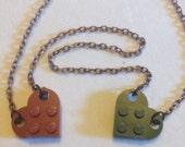 Red & Dark Green Lego Heart Reversible Necklace, Copper Chain