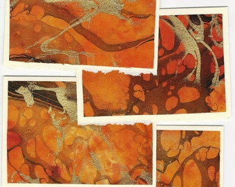 Marbled Paper Note Cards - 4 small
