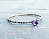 3mm Tiny Rose Cut Amethyst Stacking Ring in Sterling Silver - Super Thin Micro Band, Smooth or Hammered - February Birthstone Stacking Ring