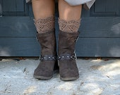 Light Brown Color Crocheted open work lacy layered leg warmers spats boot cuffs fall winter fashion