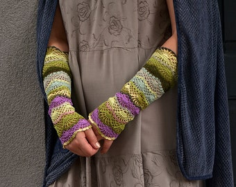 Gypsy Viola - crocheted open work lacy romantic multicolored wrist warmers mittens cuffs hippie boho style