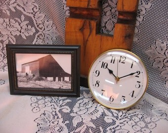 Mantle / Wall Clock from 1830's Hand Hewn Wormy Chestnut Barn Beam