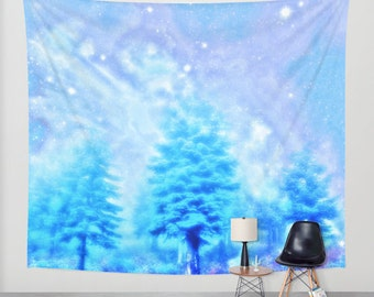 winter tapestry/magical wall tapestry/trees tapestry/wall art/wall decor/wall decal/blue tapestry/winter trees tapestry/magical sky tapestry