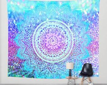 Mandala wall tapestry/colorful mandala tapestry/mandala wall decor/mandala wall art/mandala wall decal/colorful mandala/blue mandala/dorm