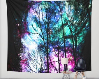 colorful sky wall tapestry/colorful sky tapestry/tapestries/wall decals/trees tapestry/nature tapestry/fantasy tapestry/pink tapestry/blue
