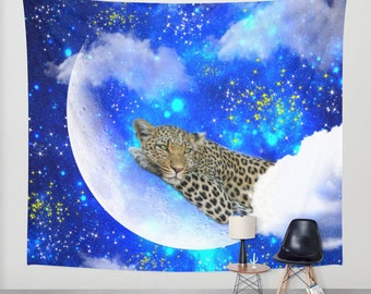 leopard wall tapestry/leopard tapestry/moon tapestry/moon wall tapestry/stars wall tapestry/stars tapestry/blue wall tapestry/wall decal