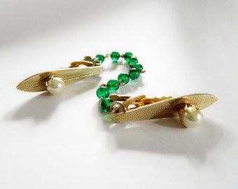 Vintage 1950s Sweater Guard Green Glass Beads Faux Pearl