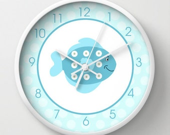 Little Fish Under the Sea Nursery or Kids Bathroom 10-inch Wall Clock, Choose frame color, hands, personalization