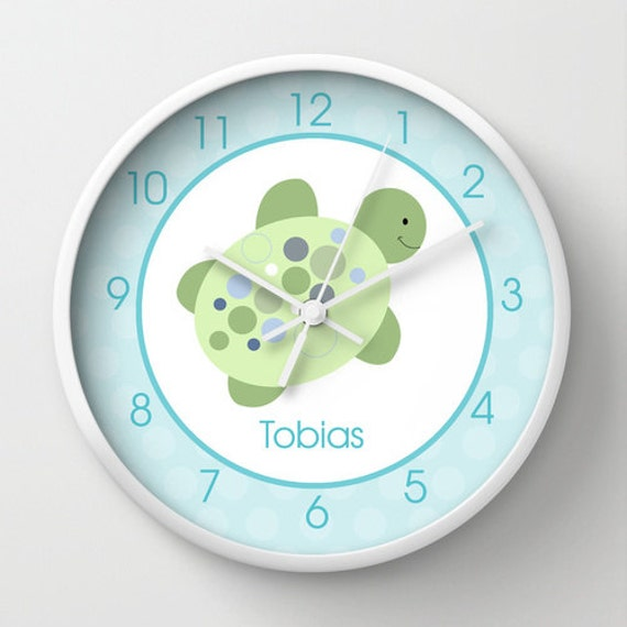 Turtle Reef Sea Turtle Nursery 10-inch Wall Clock Personalized with Name