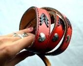 Vintage Red Western Tooled Leather Belt - Hearts