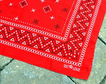 Vintage Fast Color Red Geometric Bandana Kerchief Cotton Scarf - Elephant Trunk Up