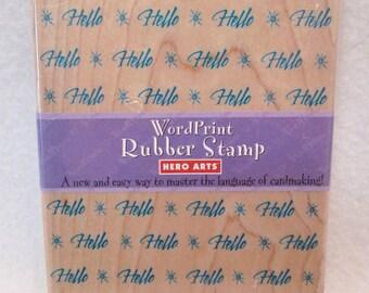 NEW Hero Arts HELLO Word Print Rubber Stamp, Scrapbook Stamp 1997