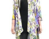 Kimono cardigan- Ruana-Yellow purple and green, Chiffon-Gift idea-Layering piece-FREE SHIPPING