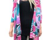 Kimono cardigan Art deco print chiffon-Blue, Pink and Lilac-Layering piece-FREE SHIPPING
