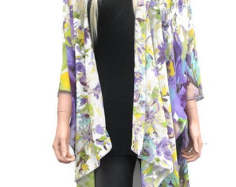 Kimono cardigan- Ruana-Yellow purple and green, Chiffon-Gift idea-Layering piece-FREE SHIPPING
