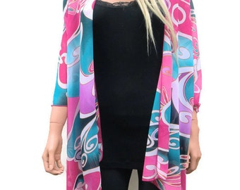 Kimono cardigan Art deco print chiffon-Blue, Pink and Lilac-Layering piece-FREE SHIPPING