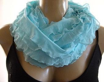 Aqua larimar ruffled infinity scarf,  Ruffle cowl in aqua blue , Flamenco Necklace Scarf -Le dernier cri