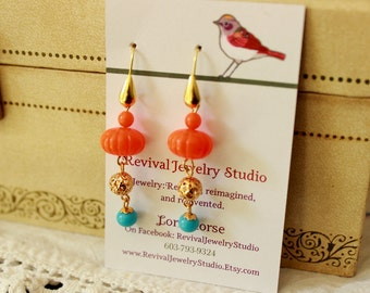Orange and Turquoise Earrings - Dangle Earrings