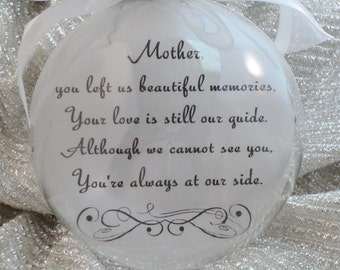 In Memory Memorial Ornament Glass Ornament, FREE Personalization and Charm for Mother, Father, Brother, Sister -
