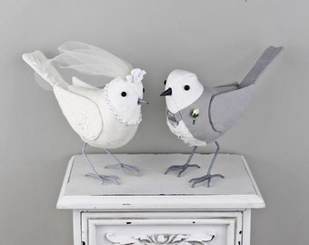 WEDDING BIRDS - Fabric Cake Toppers - Made to Order