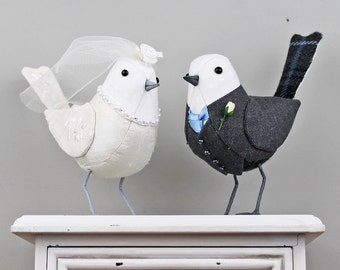 FABRIC BIRDS - Wedding Cake Toppers - Made to Order