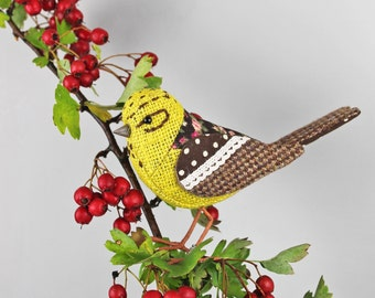 Yellowhammer Sculpture - FABRIC BIRD - Made to Order