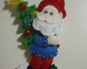 Bucilla Gnome with Christmas Tree Ornament from the Gnome Collection