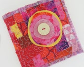 Mini Textile book, bright pink and purple, quilted fabric with button feature, blank