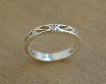 Eternity Scroll Ring in Argentium Silver with Ceylon Sapphire