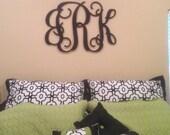 "Initial monogram door hanger 24""  Vine script medium 3 letters personalized with bride last groom"