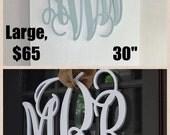 """3 initials monogram door hanger 30""""  Vine script large"""