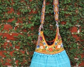 Fan page special Yellow Turquoise colored hand  Embroidered Huipil Boho Travel tote